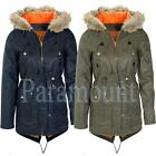 Padded Twill Fishtail Parka Jacket   Womens Size