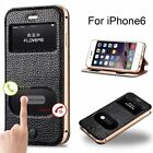 Genuine Leather Metal Frame Flip Stand Window Case Cover For iPhone 6/6S Plus