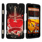 For ZTE Max Boost N9520 Case Hard Snap On 2 Piece Slim Shell Red Roses