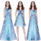 Ever Pretty Women's Short Floral Printed Blue Casual Party Cocktail Dress 05498