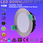 6X 10W IP44 DIMMABLE LED DOWNLIGHTS KITS 70MM SATIN CHROME WARM/COOL WHITE LIGHT