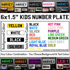 """6x1.5"""" Kids Plastic Number Plate Ride On Toy Car Childrens Childs with Name/Reg"""