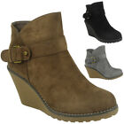 WOMENS LADIES FAUX SUEDE HIGH MID HEEL WEDGE BUCKLE WORK ANKLE BOOTS SHOES SIZE