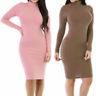Good Time Fitted Long Sleeve Turtleneck Stretch Bodycon Dress Size S M L GT5332
