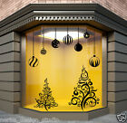 CHRISTMAS SHOP WINDOW STICKER XMAS TREE WALL STICKERS XMAS BAUBLES DECALS  N6
