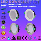 6PCS 10W 70MM CUTOUT LED DOWNLIGHTS KITS DIMABLE SAA WHITE SATIN CHROME FITTINGS