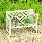 Lazy Days White Garden Bench with Cat, Teacup and Newspaper handmade by Jennifer