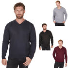 Mens Pierre Roche Knitted V-neck Jumper. Black, Navy, Grey, Burgundy