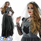 Ladies Corpse Bride Fancy Dress Costume Womens Halloween Outfit 8-30 Plus Size