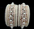 2pcs White Rhinestone Pearl Golden Bridal Broad Metal Bangle Kada Set Rakhi-30