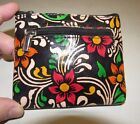 SHINA BLACK TROPICAL FLORAL HAND-PAINTED LEATHER COIN PURSE