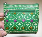 GREEN MOROCCAN FLORAL HAND-PAINTED LEATHER COIN PURSE BY SHINA
