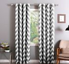 Chevron 100% Thermal Blackout Grommet Window Curtain Panel Heavy Extra Wide