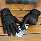New Men Winter Leather Motorcycle Full Finger Touch Screen Warm Gloves Fashion
