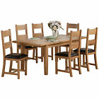 Solid Oak & Veneer Extending Extendable Dining Table and Chair Set with 6 Seats