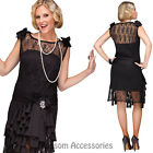 CA69 Black Flirty Flapper Womens 20s 1920s Chicago Gatsby Dress Up Party Costume