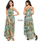 Women Loose Chiffon Halter Sleeveless Irregular Hem Floral Long Maxi Dress TXWD