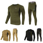 Mens Thermal Underwear Set Top T-Shirt +Long John Tactical Outdoor Johns Pant