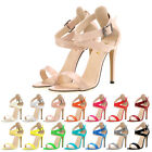 Women Patent Leather Pumps High Heels Shoes Open Toe Pumps Wedding Party Sandals