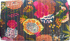 KANTHA QUILT FLORAL COTTON BEDSPREAD BLANKET THROW COVERLET Flowers  Drak Brown