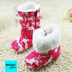 Pink and white print winter boots with white fur lining - by Moshi Babies