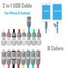 For Android Apple 2 In 1 USB Data Sync Cable Wire Charger Cord iPhone Samsung LG