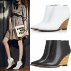 Women's Leather Pointy Toe Wedge Heel Ankle Boots Side zipper sexy Shoes 4.5-8