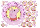 Peppa Pig Fairy Pink Blue Icing Sheet Cake Topper & Cupcake sets PERSONALISED