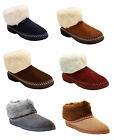 NEW WOMENS LADIES FURRY WARM LINING WINTER COSY ANKLE BOOTIE SLIPPERS BOOTS 3-8