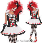 K250 Ladies Circus Cirque Clown Jester Dress Up Zombie Halloween Costume Outfit