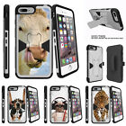"""For Apple iPhone 7 (4.7"""") Silver Case Holster Clip Stand Cow Licking Nose"""