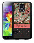 PERSONALIZED RUBBER CASE FOR SAMSUNG S4 S5 S6 S7 EDGE PLUS GREEN PINK PAISLEY