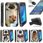 For Samsung Galaxy J1 J120 Dual Bumper Case Stand + Tempered Glass Silly Animals