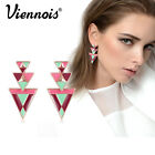 Viennois new modern black & gold triangles dangle stud earrings women jewelry