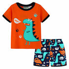 Pyjamas Baby Boys Summer Pjs Set (Sz 0-2) Orange Dinosaur Roar Size 0 1 2