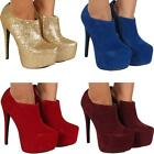 Womens Ladies Party Fashion Casual High Heel Stiletto Ankle Boots Shoes Sizes UK