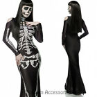 K261 Black Skull Skeleton Gothic Womens Horror Scary Halloween Dress Up Costume