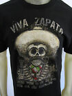 Viva Zapata Muerto Mexico skull sombrero tee shirt men's black choose A Size