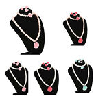 Kids Necklace Bracelet Ring Ear Clips Set Jewelry Girls Chic Accessories JG