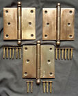 "Set 3 Vintage 3.5""x3.5 Bronze Steel Interior Exterior Door Ball Tip Finial Hinge"