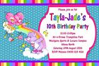 Care Bears Rainbow Print Girls Kids Personalised Birthday Party Invitations