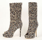 $1,860 BRIAN ATWOOD 'TEMPTRESS' BOOTS OPENTOE STUD ZEBRA LEATHER 36 36.5 37.5