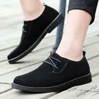 Mens casual lace up suede leather round toe British style oxford dress shoes