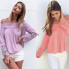 Fashion Women Long Sleeve Shirt Casual Lace Blouse Loose Cotton Top T Shirt TXWD