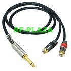 6.35mm 1/4 plug TS mono to 2-RCA jack DIY Y Splitter cable Canare L-4E6S 3~12M