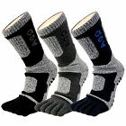 Men's Comfy Double Layer Cushioned Sports Cyleing Hiking Golf 5 Finger Toe Socks