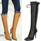 Sexy Stilettos Womens High Heel Pointy Toe Mid Calf Boots Leather Shoes Lace Up