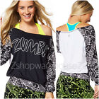 ZUMBA BE BOLD LONG SLEEVE PULLOVER TOP U.K ~Edgy/Cool Rare! S M L