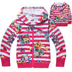 Pokemon Go Pikachu girls stripe kids cotton thin jacket zip hoodie top size 4-10