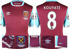 16 / 17 - UMBRO WEST HAM UNITED HOME SHIRT SS + PATCHES  KOUYATE' 8 = KIDS SIZE